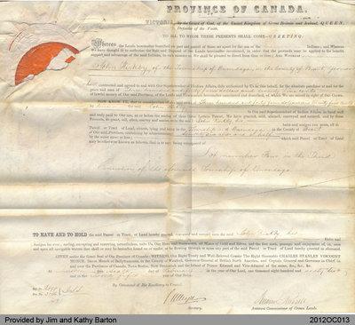 1862 Land Grant to John Kirkby