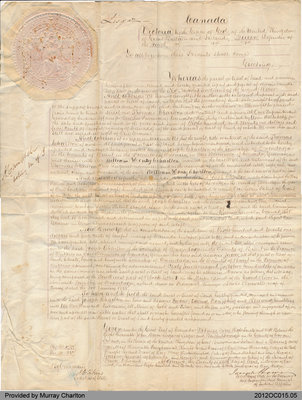 Land Sale Grant to Joseph Charlton