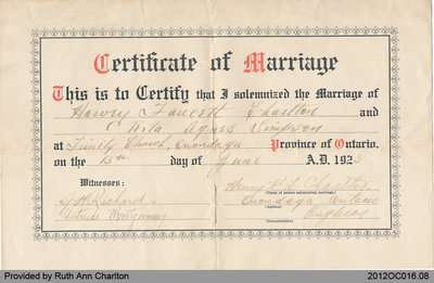 Certificate of Marriage: Charlton/Simpson