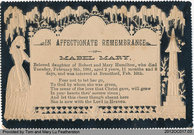 Funeral Card of Mabel Hamilton