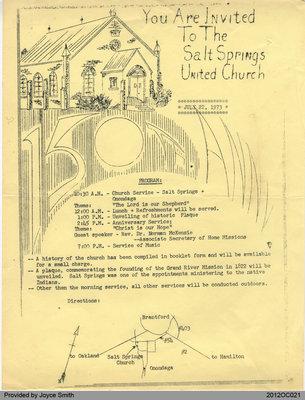 Salt Springs Church Anniversary Bulletin
