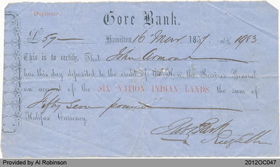 Receipt for Gore Bank Transaction