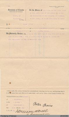 Statutory Declaration of Peter Preiss