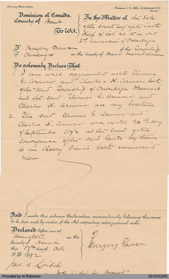 Declaration of Celibacy of Margery Dawson