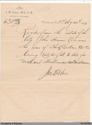 Receipt Issued by J. M. Forbes, Coroner Co. Haldimand