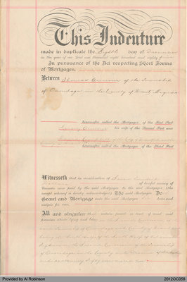 Mortgage Document between Thomas Armour and David Campbell