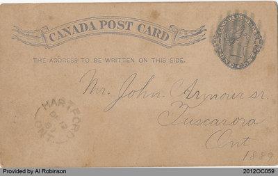 Postcard Addressed to John Armour