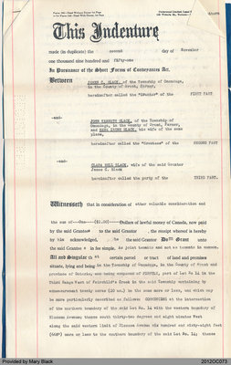 Deed of Land from James Black to John Kenneth Black