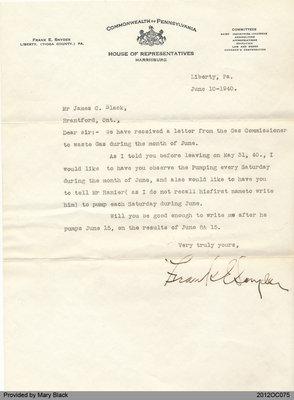 Letter to James Black from Frank Snyder