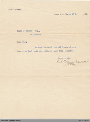 Letter to Triller Howell from C. O. Fairbank