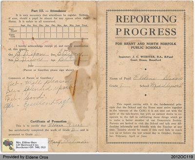 Reporting Progress Card of Eldene Dixon, Grade One and Two