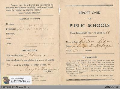 Reporting Progress Card of Eldene Dixon, Grade Three