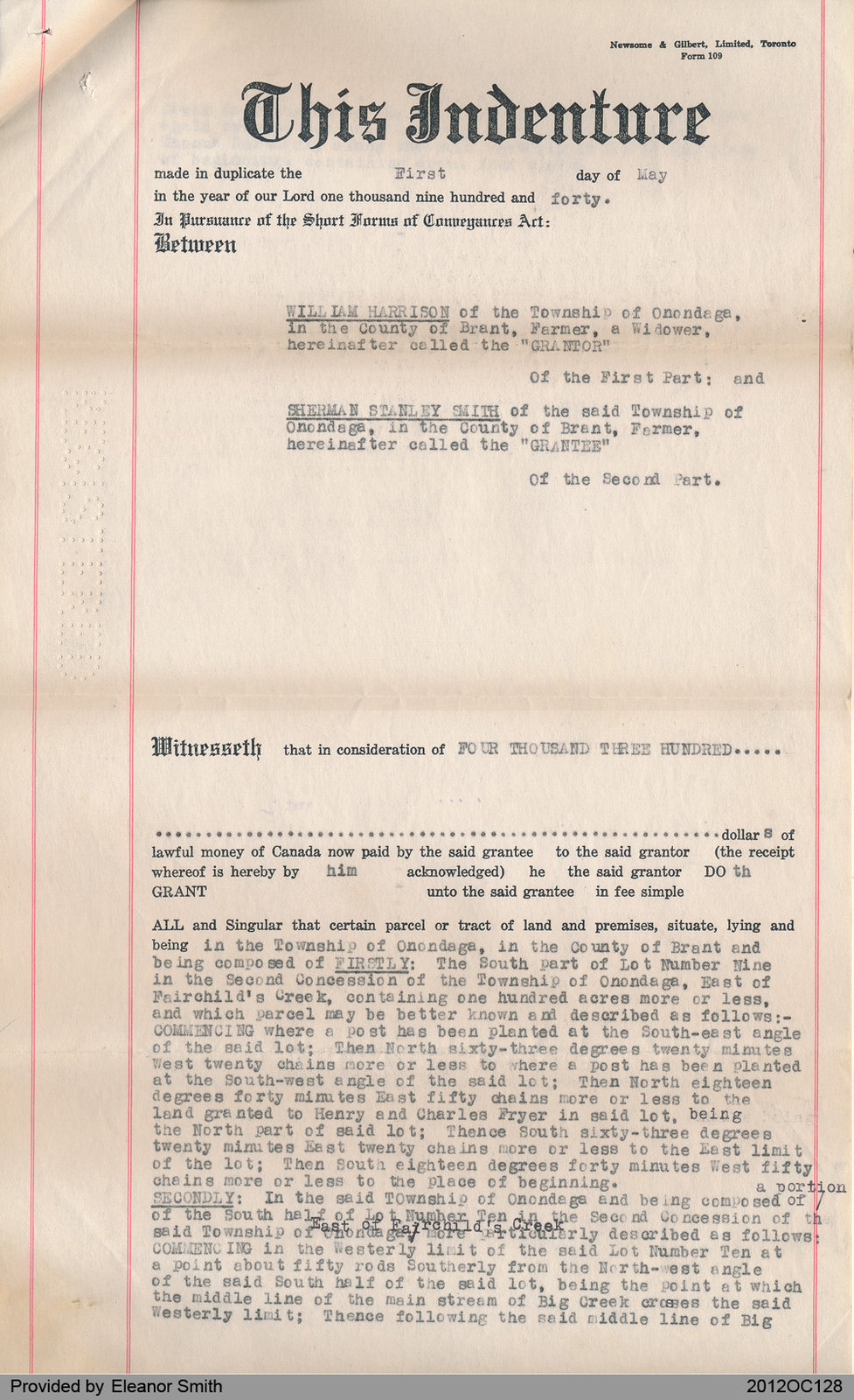 Deed of Land Between William Harrison and Sherman Smith