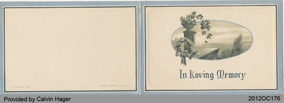 Funeral Card of Calvin Atkinson Hager