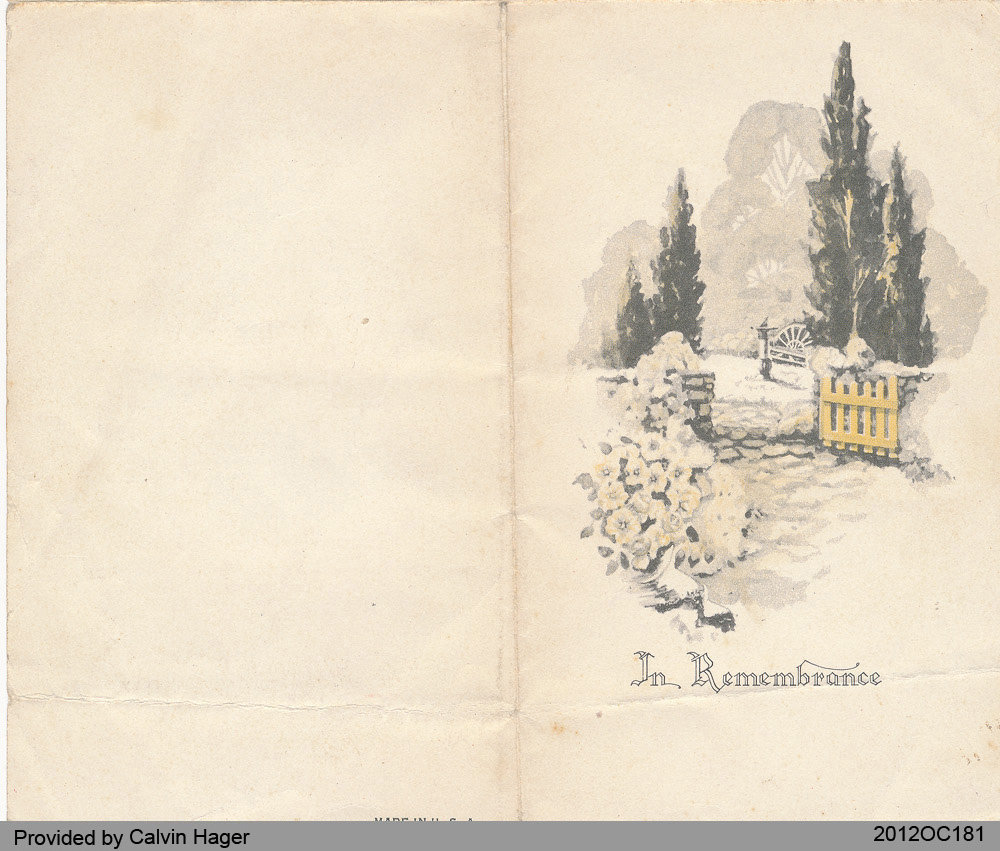 Funeral Card of Walter Dundson