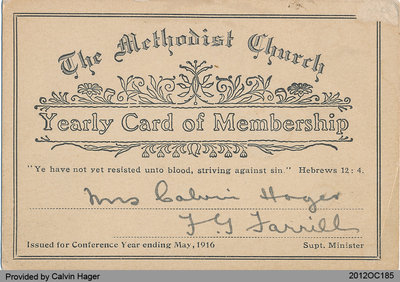 Membership Card of Mrs. Calvin Hager