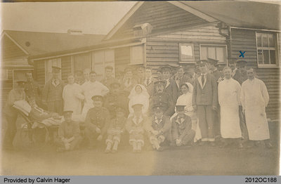 Photograph of Military Hospital Patients and Personnel