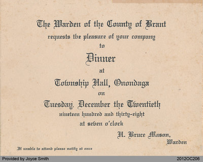 Invitation to Warden's Banquet