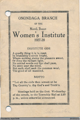 Programme for the Onondaga Women's Institute