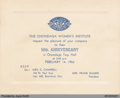 Invitation to the 50th Anniversary Celebration for the Onondaga Women's Institute