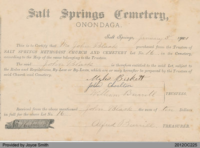 Salt Springs Church Cemetery Receipt