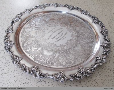 Silver Platter Presented to Thomas Featherston