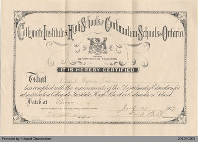 Certificate Issued to Pearl Owen