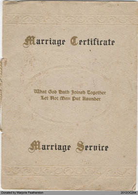 Marriage Certificate of Harris and Mary Jane Featherston
