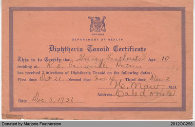 Vaccination Record of Harvey Featherston