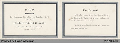 Funeral Card of Elisabeth Creswell