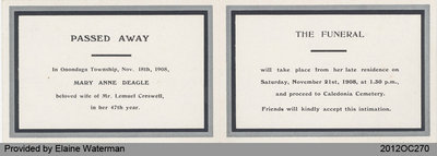 Funeral Card of Mary Anne Deagle