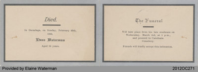 Funeral Card of Evan Waterman