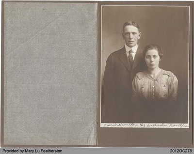 Wedding Photograph of Reginald Featherston and Mabel Hamilton