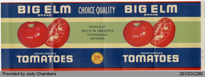 Big Elm Tomato Can Label
