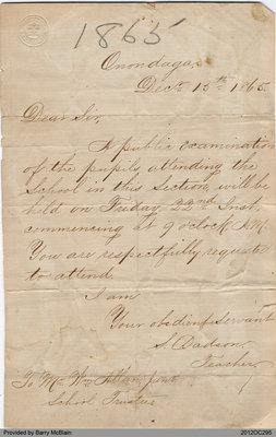 Letter Regarding Public Examination of the Pupils