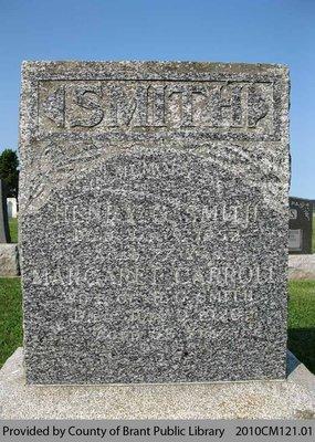 Smith Family Headstone (Range 7-12)