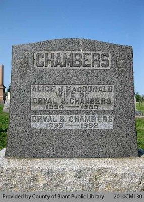 Chambers Family Headstone (Range 8-9)