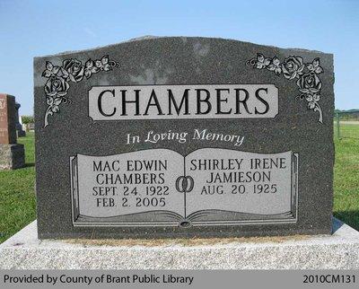 Chambers Family Headstone (Range 8-10)