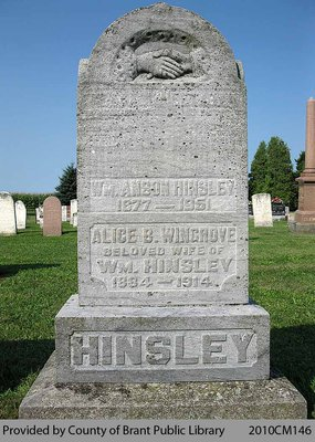 Hinsley Family Headstone (Range 10-8)