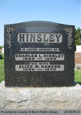 Hinsley Family Headstone (Range 10-9)