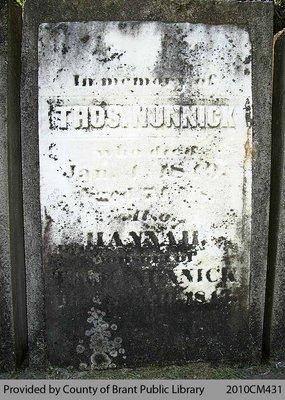 Nunnick Family Headstone