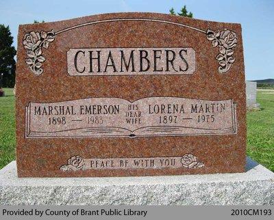 Chambers Family Headstone (Range 13-12)