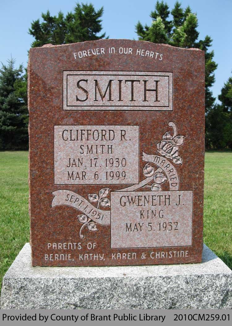 Smith Family Headstone (Range 18-6)