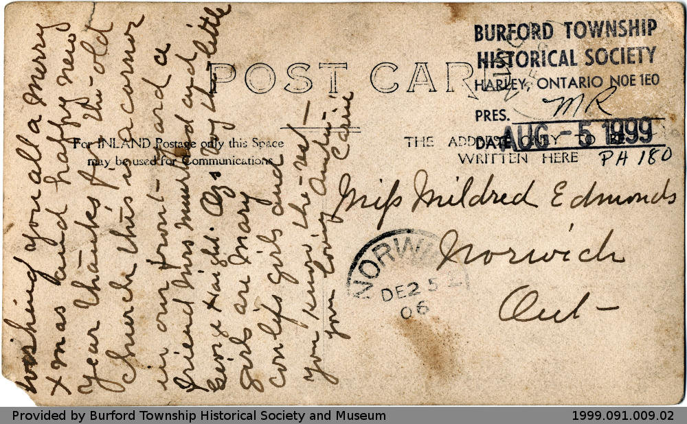 Postcard addressed to Mildred Edmonds