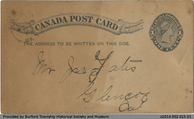 Postcard to Member of the Yates Family