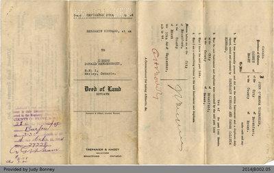 Land Deed Between Benjamin Kinnard and Donald Ernest Hendershott