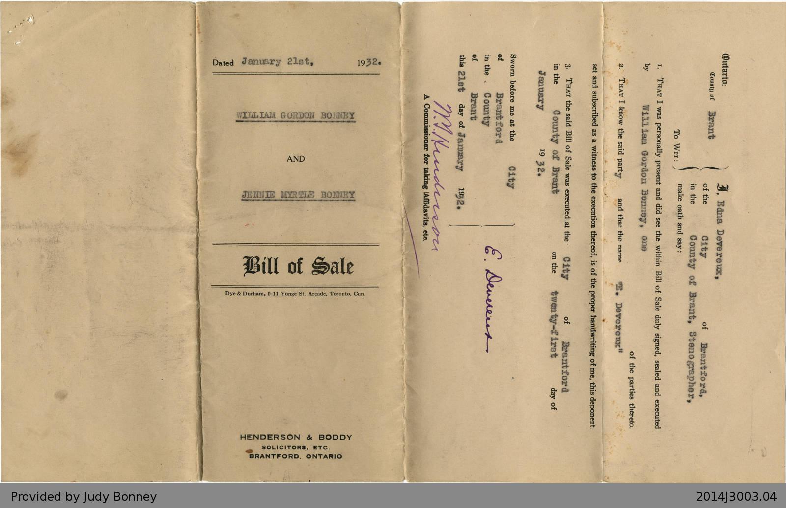 Bill of Sale Between William Gordon Bonney and Jennie Myrtle Bonney