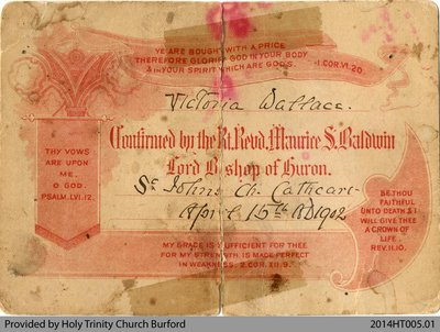 Confirmation Certificate for Victoria Wallace