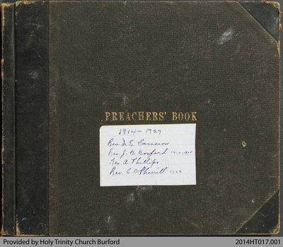 Holy Trinity Church Burford Preachers Book 1914-29