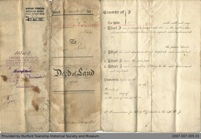 Land Deed Agreement Between Samuel Cornell and Oliver Fish